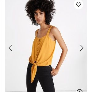 NWT Madewell Button-Front Tie Tank Top Marigold M